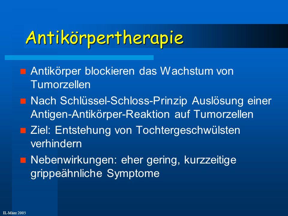 IL-März 2005 Antikörpertherapie Antikörper blockieren das Wachstum von Tumorzellen Nach Schlüssel-Schloss-Prinzip Auslösung einer Antigen-Antikörper-R