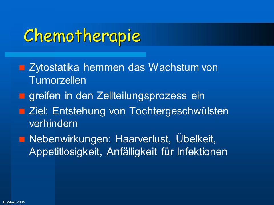 IL-März 2005 Chemotherapie Zytostatika hemmen das Wachstum von Tumorzellen greifen in den Zellteilungsprozess ein Ziel: Entstehung von Tochtergeschwül