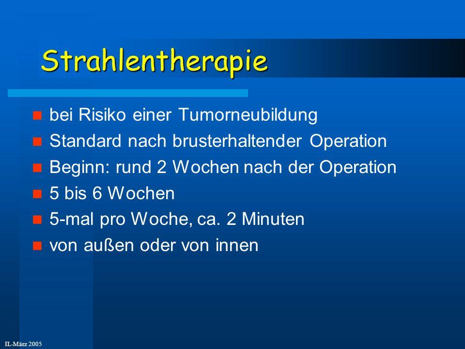 IL-März 2005 Behandlungsarten II 2) Systemische Therapie (den ganzen Körper betreffend) Chemotherapie Antikörper-Therapie Anti-Hormontherapie Voraussetzung - Hormonrezeptoren im Tumor vorhanden Krebs braucht Östrogene zum Wachsen