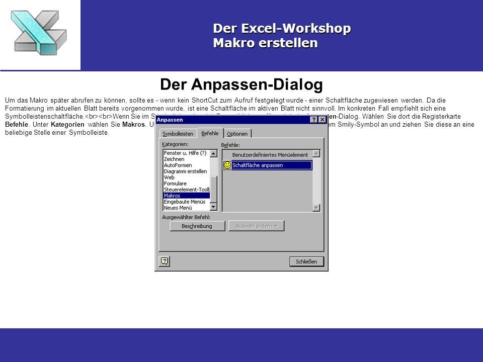 Symbol anpassen Der Excel-Workshop Makro erstellen Klicken Sie das Smily-Symbol bei geöffnetem Anpassen-Dialog mit der rechten Maustaste an, führen Sie die gewünschten Einstellungen für die Schaltfläche durch und wählen Sie Makro zuweisen...