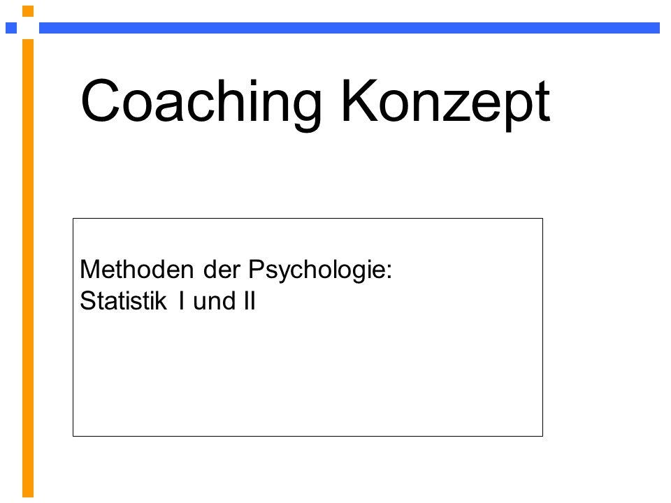 Coaching Konzept Methoden der Psychologie: Statistik I und II