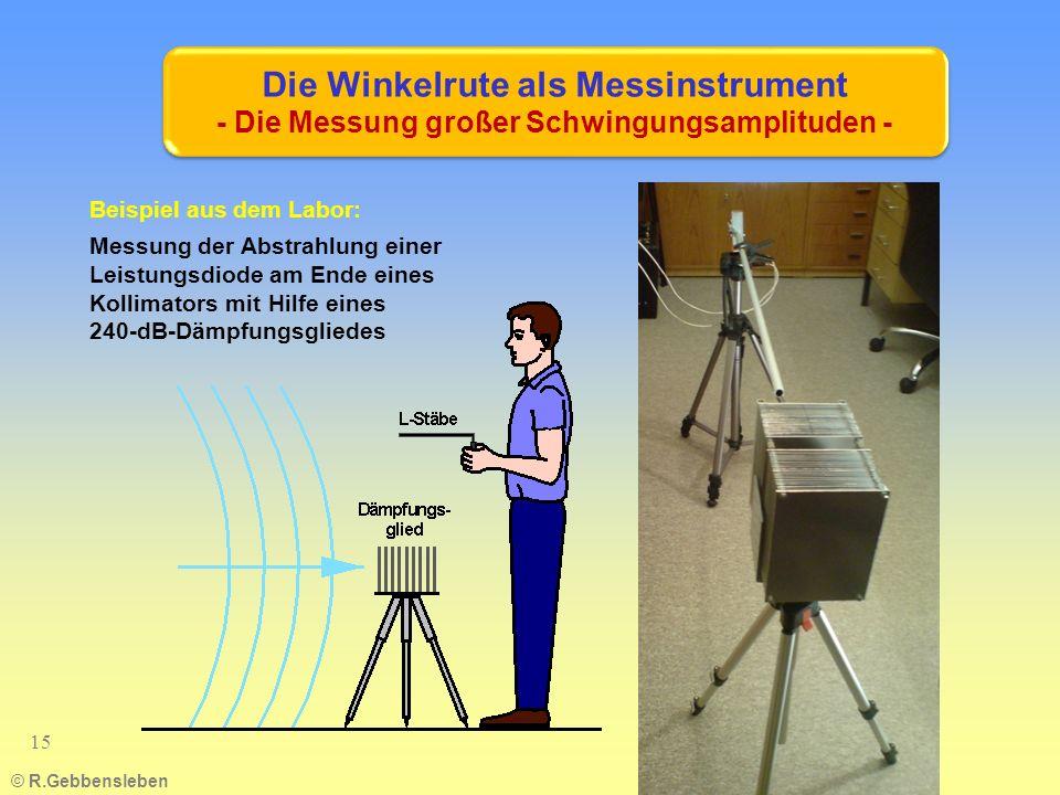 Die Winkelrute als Messinstrument - Die Messung großer Schwingungsamplituden - © R.Gebbensleben 15 Beispiel aus dem Labor: Messung der Abstrahlung einer Leistungsdiode am Ende eines Kollimators mit Hilfe eines 240-dB-Dämpfungsgliedes