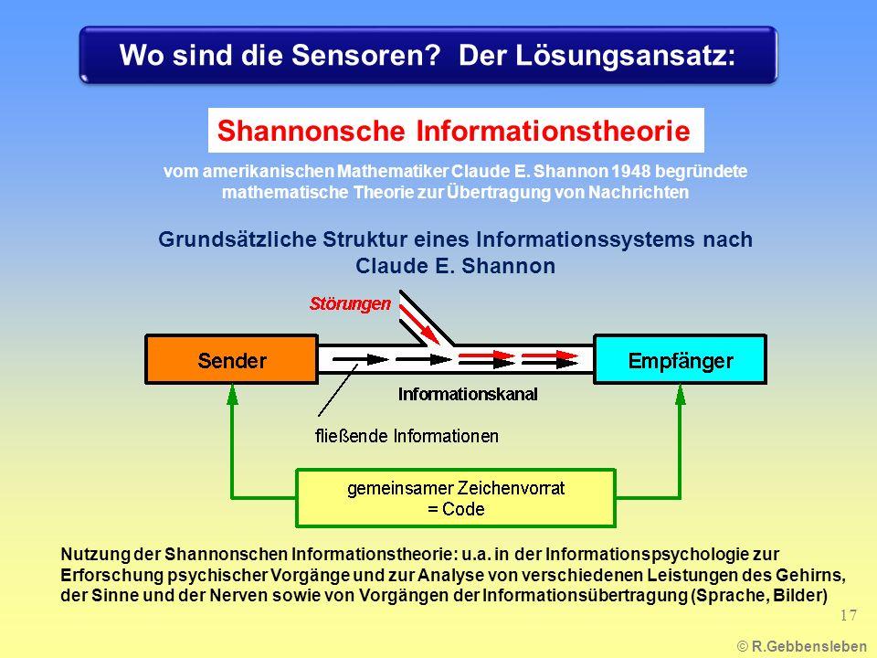 © R.Gebbensleben Shannonsche Informationstheorie Grundsätzliche Struktur eines Informationssystems nach Claude E. Shannon vom amerikanischen Mathemati