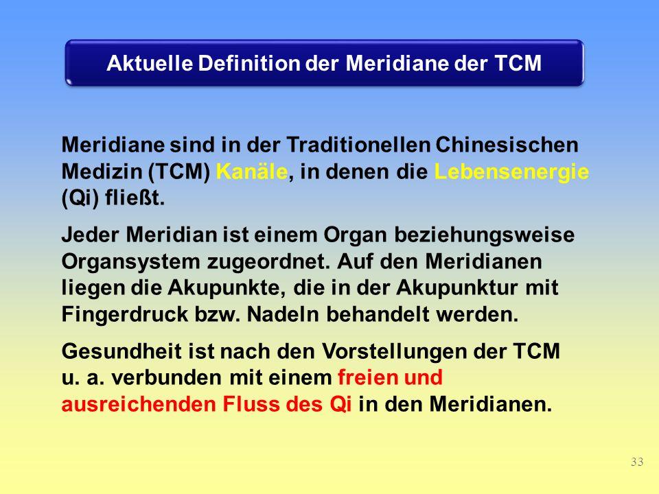 Meridiane sind in der Traditionellen Chinesischen Medizin (TCM) Kanäle, in denen die Lebensenergie (Qi) fließt.
