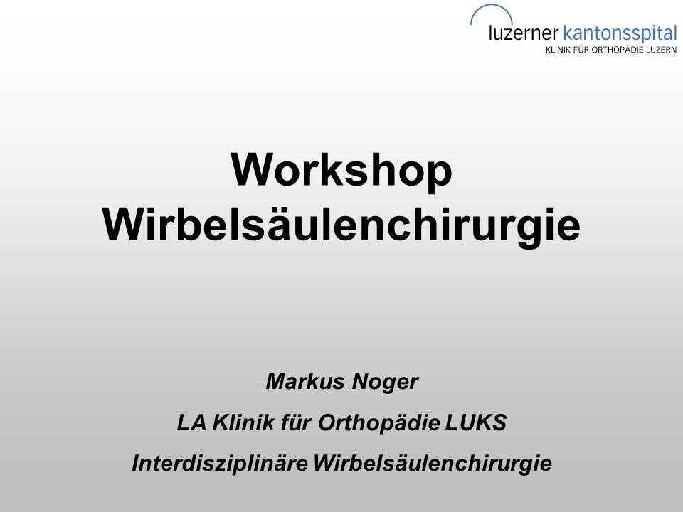 Workshop Wirbelsäulenchirurgie Markus Noger LA Klinik für Orthopädie LUKS Interdisziplinäre Wirbelsäulenchirurgie