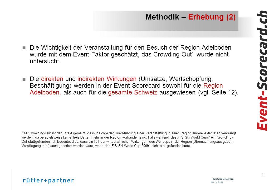 11 Methodik – Erhebung (2) n Die Wichtigkeit der Veranstaltung für den Besuch der Region Adelboden wurde mit dem Event-Faktor geschätzt, das Crowding-Out 1 wurde nicht untersucht.
