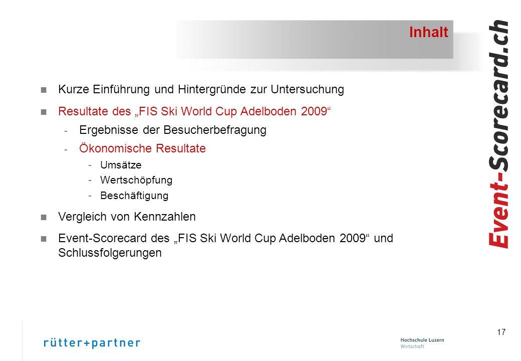 17 Inhalt n Kurze Einführung und Hintergründe zur Untersuchung n Resultate des FIS Ski World Cup Adelboden 2009 - Ergebnisse der Besucherbefragung - Ökonomische Resultate -Umsätze -Wertschöpfung -Beschäftigung n Vergleich von Kennzahlen n Event-Scorecard des FIS Ski World Cup Adelboden 2009 und Schlussfolgerungen