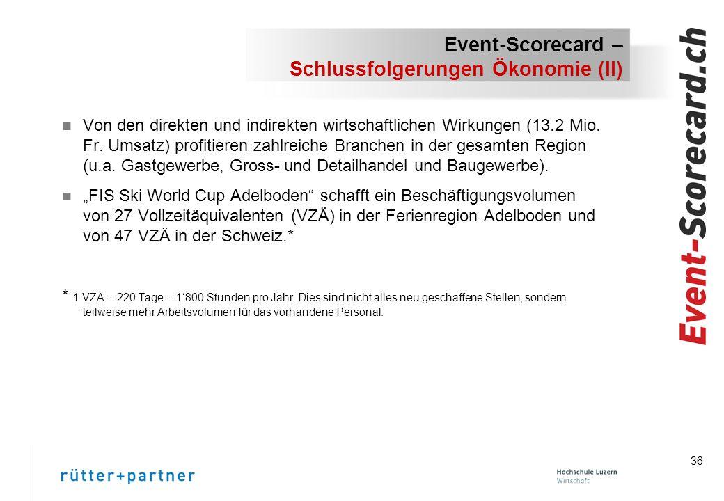 36 Event-Scorecard – Schlussfolgerungen Ökonomie (II) n Von den direkten und indirekten wirtschaftlichen Wirkungen (13.2 Mio.