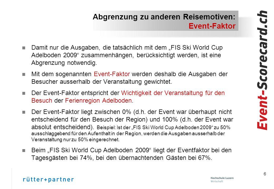 6 Abgrenzung zu anderen Reisemotiven: Event-Faktor n Damit nur die Ausgaben, die tatsächlich mit dem FIS Ski World Cup Adelboden 2009 zusammenhängen, berücksichtigt werden, ist eine Abgrenzung notwendig.