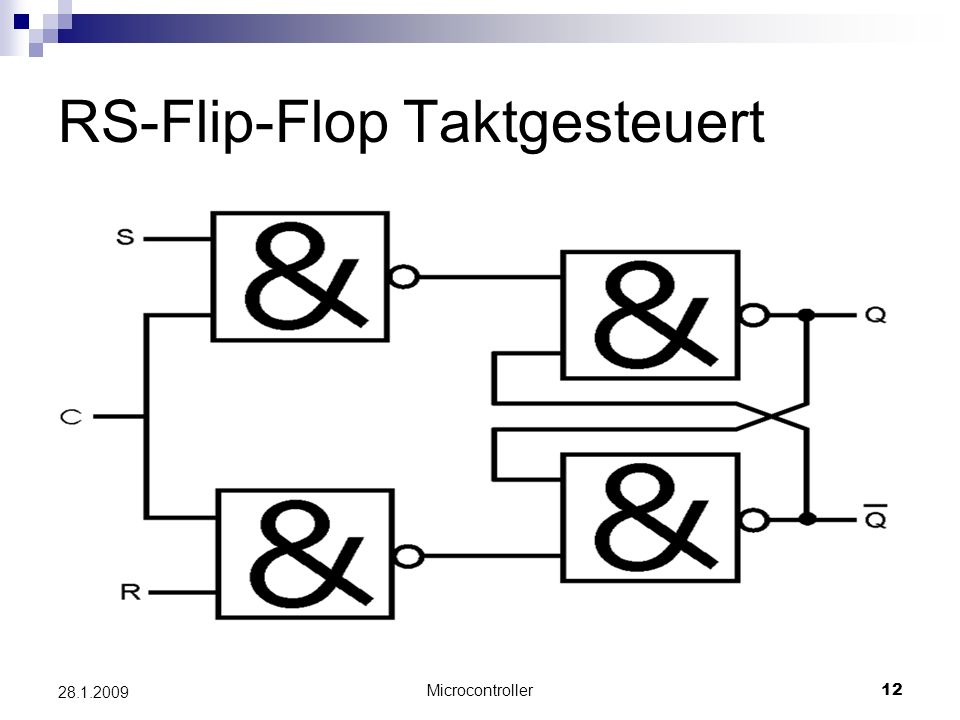 Microcontroller12 28.1.2009 RS-Flip-Flop Taktgesteuert