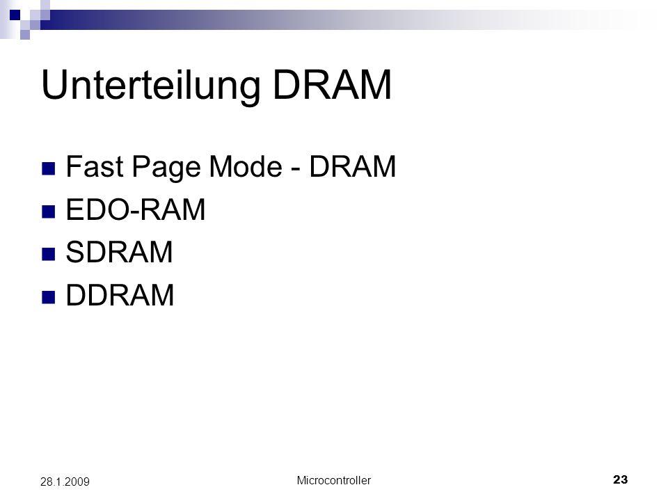 Microcontroller23 28.1.2009 Unterteilung DRAM Fast Page Mode - DRAM EDO-RAM SDRAM DDRAM