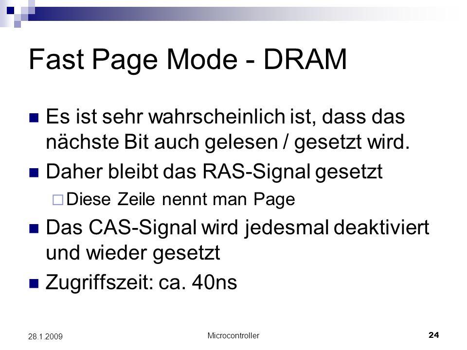 Microcontroller24 28.1.2009 Fast Page Mode - DRAM Es ist sehr wahrscheinlich ist, dass das nächste Bit auch gelesen / gesetzt wird.