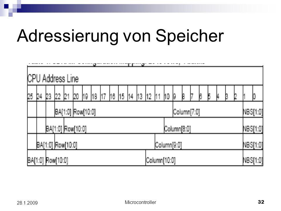 Microcontroller32 28.1.2009 Adressierung von Speicher