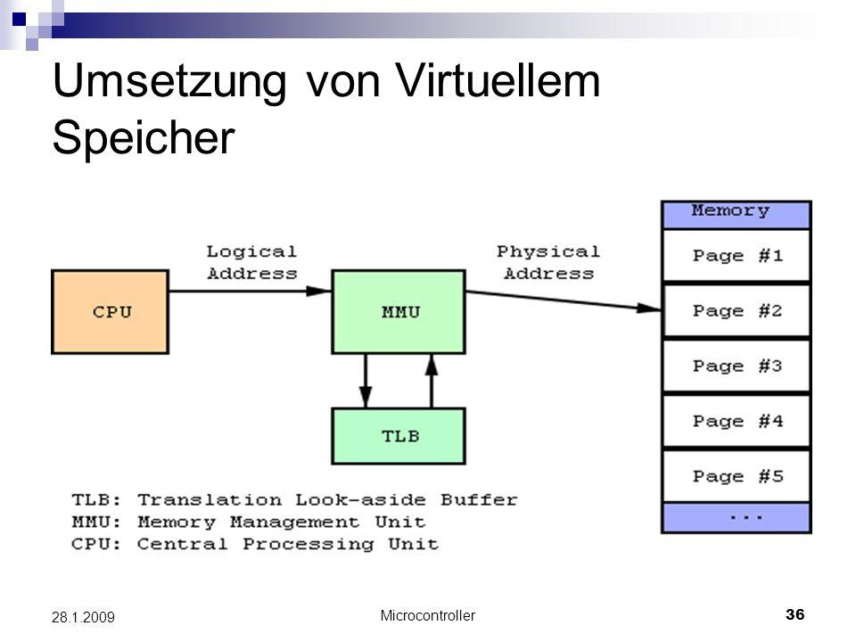 Microcontroller36 28.1.2009 Umsetzung von Virtuellem Speicher