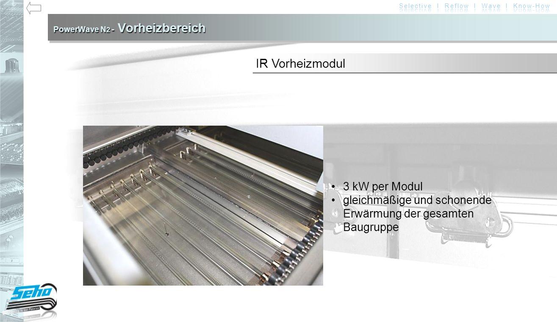 PowerWave N 2 - Vorheizbereich 3 kW per Modul gleichmäßige und schonende Erwärmung der gesamten Baugruppe IR Vorheizmodul