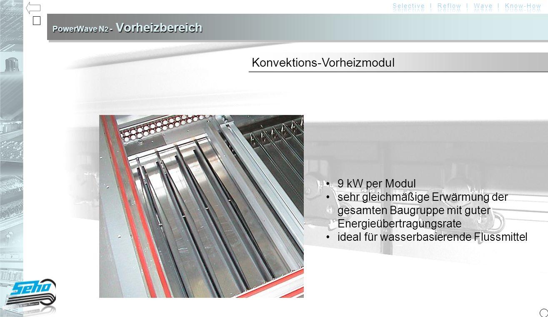 PowerWave N 2 - Vorheizbereich 9 kW per Modul sehr gleichmäßige Erwärmung der gesamten Baugruppe mit guter Energieübertragungsrateideal für wasserbasierende Flussmittel Konvektions-Vorheizmodul