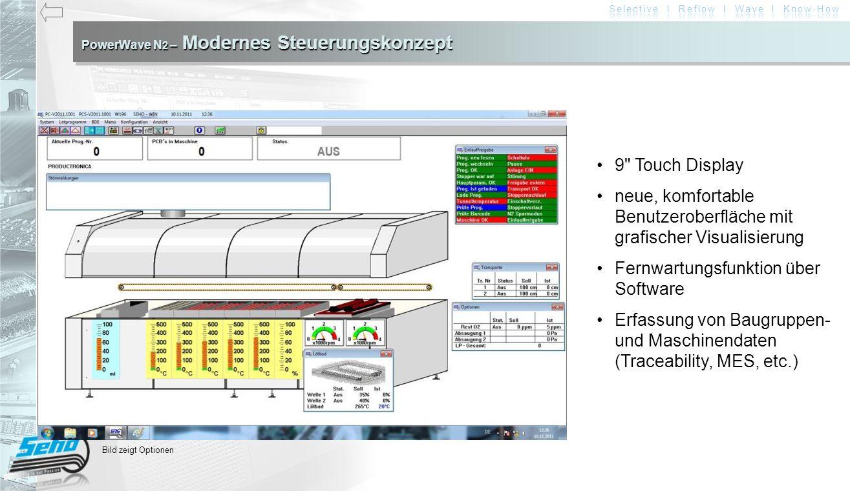 PowerWave N 2 – Modernes Steuerungskonzept 9 Touch Display neue, komfortable Benutzeroberfläche mit grafischer Visualisierung Fernwartungsfunktion über Software Erfassung von Baugruppen- und Maschinendaten (Traceability, MES, etc.) Bild zeigt Optionen