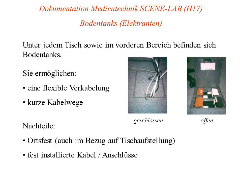 Dokumentation Medientechnik SCENE-LAB (H17) Bodentanks (Elektranten) Unter jedem Tisch sowie im vorderen Bereich befinden sich Bodentanks. Sie ermögli
