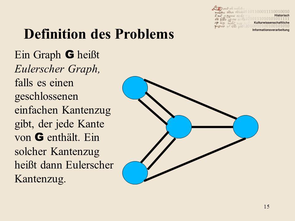 Definition des Problems Ein Graph G heißt Eulerscher Graph, falls es einen geschlossenen einfachen Kantenzug gibt, der jede Kante von G enthält. Ein s