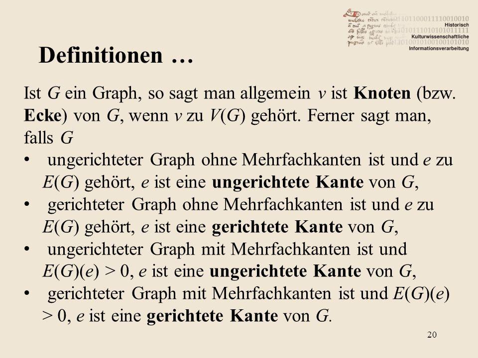 Definitionen … Ist G ein Graph, so sagt man allgemein v ist Knoten (bzw. Ecke) von G, wenn v zu V(G) gehört. Ferner sagt man, falls G ungerichteter Gr