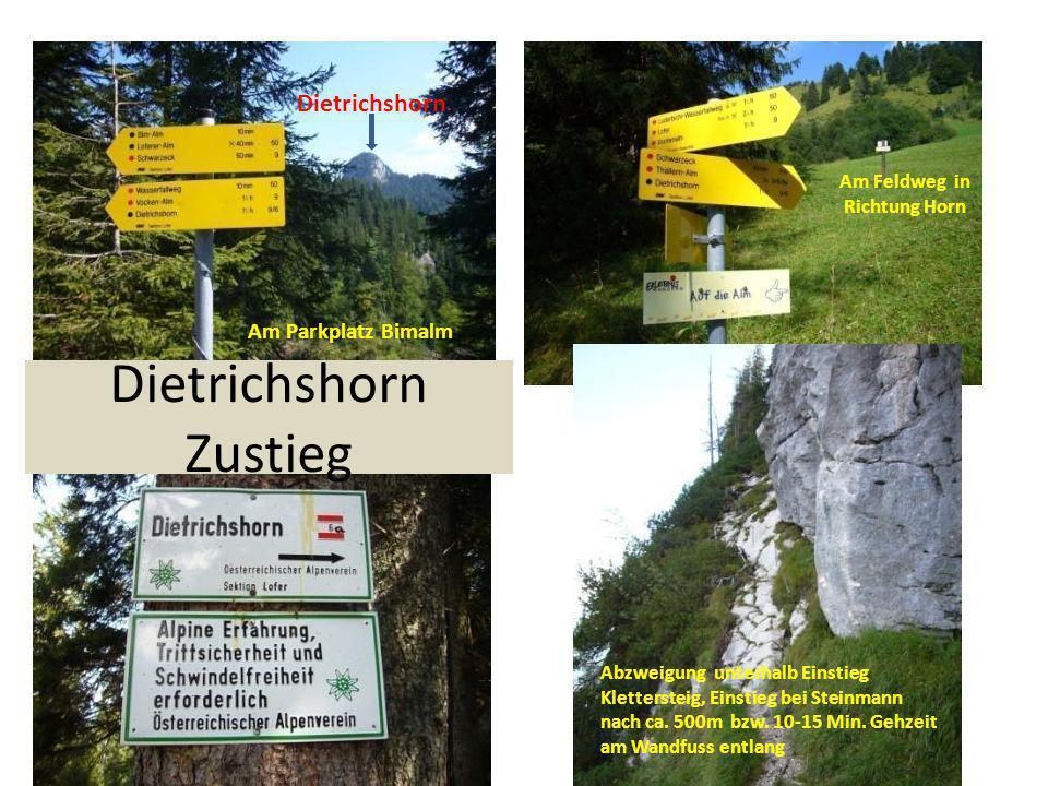 Am Parkplatz Bimalm Am Feldweg in Richtung Horn Dietrichshorn Dietrichshorn Zustieg Abzweigung unterhalb Einstieg Klettersteig, Einstieg bei Steinmann