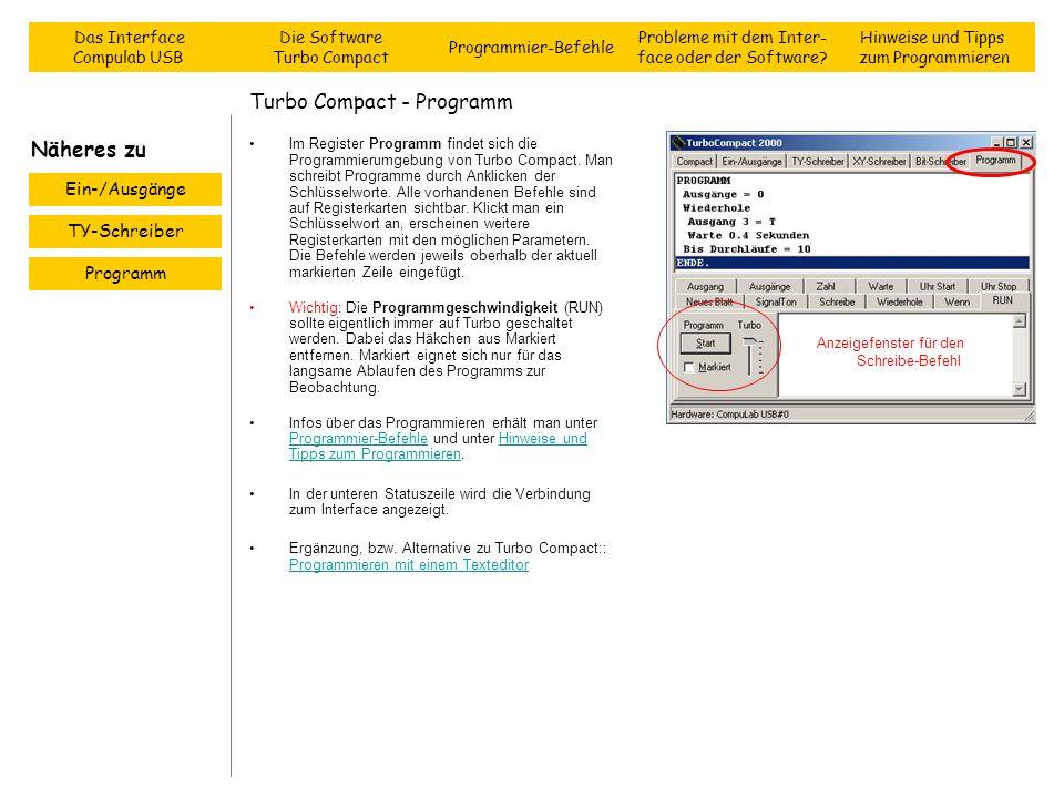 Turbo Compact - Programm Im Register Programm findet sich die Programmierumgebung von Turbo Compact. Man schreibt Programme durch Anklicken der Schlüs