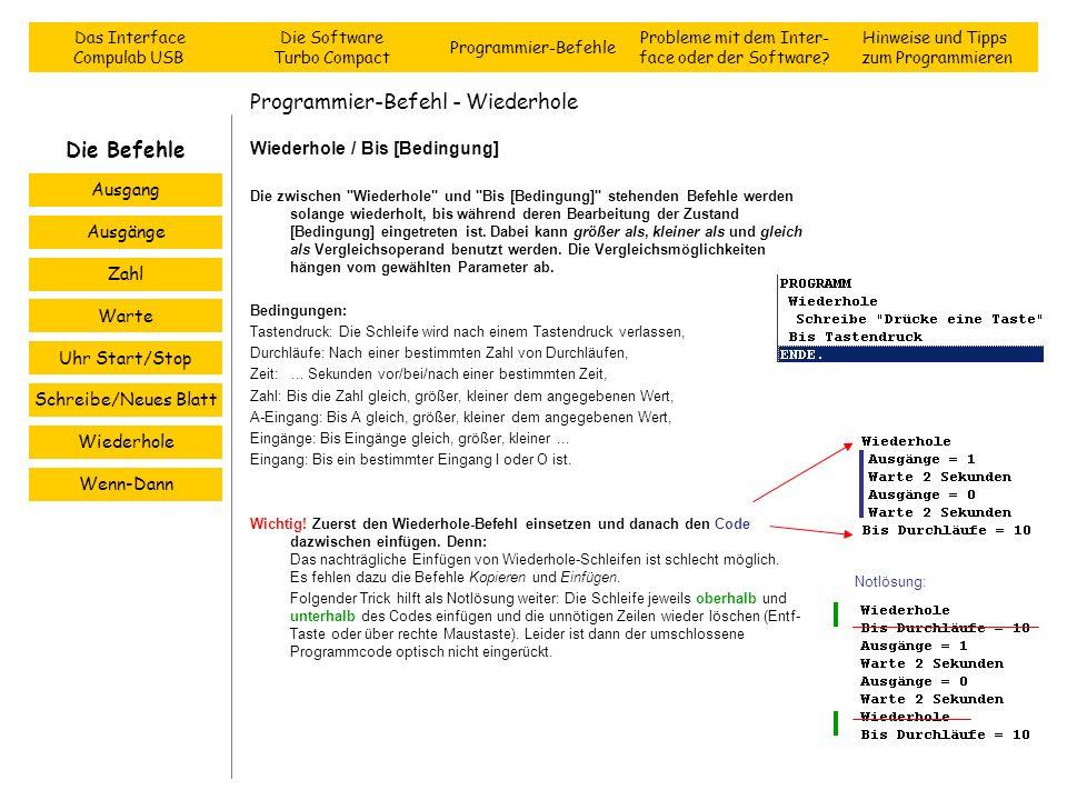 Programmier-Befehl - Wiederhole Wiederhole / Bis [Bedingung] Die zwischen