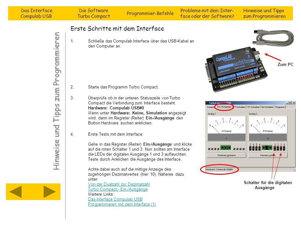 Erste Schritte mit dem Interface 1.Schließe das Compulab Interface über das USB-Kabel an den Computer an. 2.Starte das Programm Turbo Compact. 3.Überp
