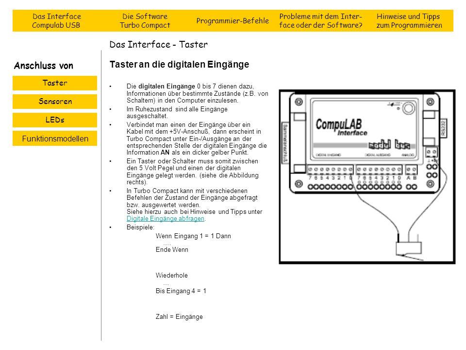 Das Interface - Taster Taster an die digitalen Eingänge Die digitalen Eingänge 0 bis 7 dienen dazu, Informationen über bestimmte Zustände (z.B. von Sc