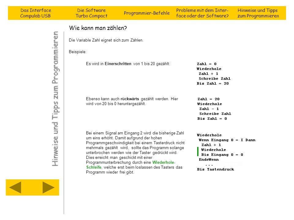 Wie kann man zählen? Die Variable Zahl eignet sich zum Zählen. Beispiele: Es wird in Einerschritten von 1 bis 20 gezählt: Ebenso kann auch rückwärts g