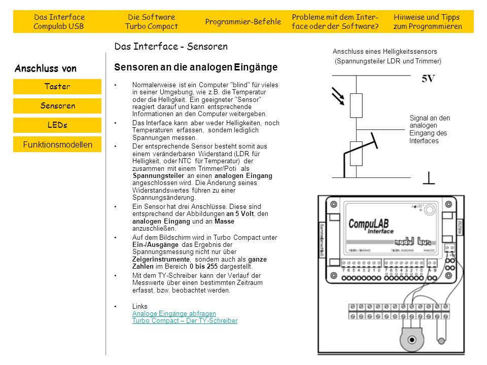 Das Interface - Sensoren Sensoren an die analogen Eingänge Normalerweise ist ein Computer