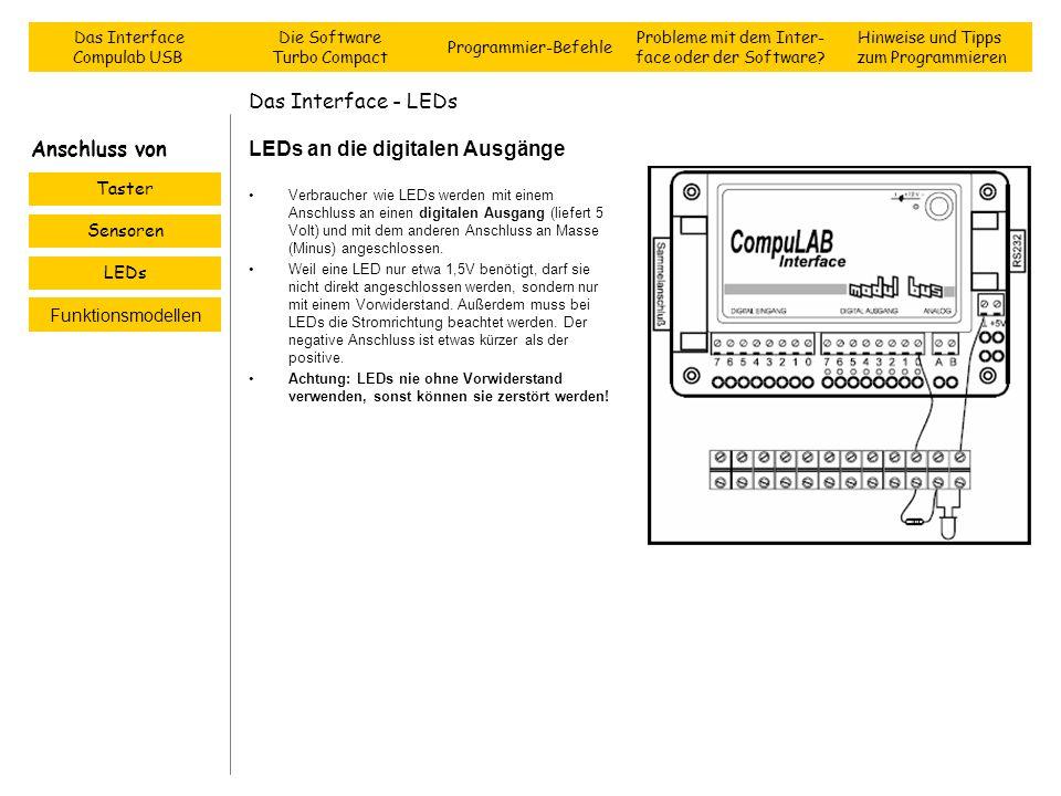 Das Interface - LEDs LEDs an die digitalen Ausgänge Verbraucher wie LEDs werden mit einem Anschluss an einen digitalen Ausgang (liefert 5 Volt) und mi