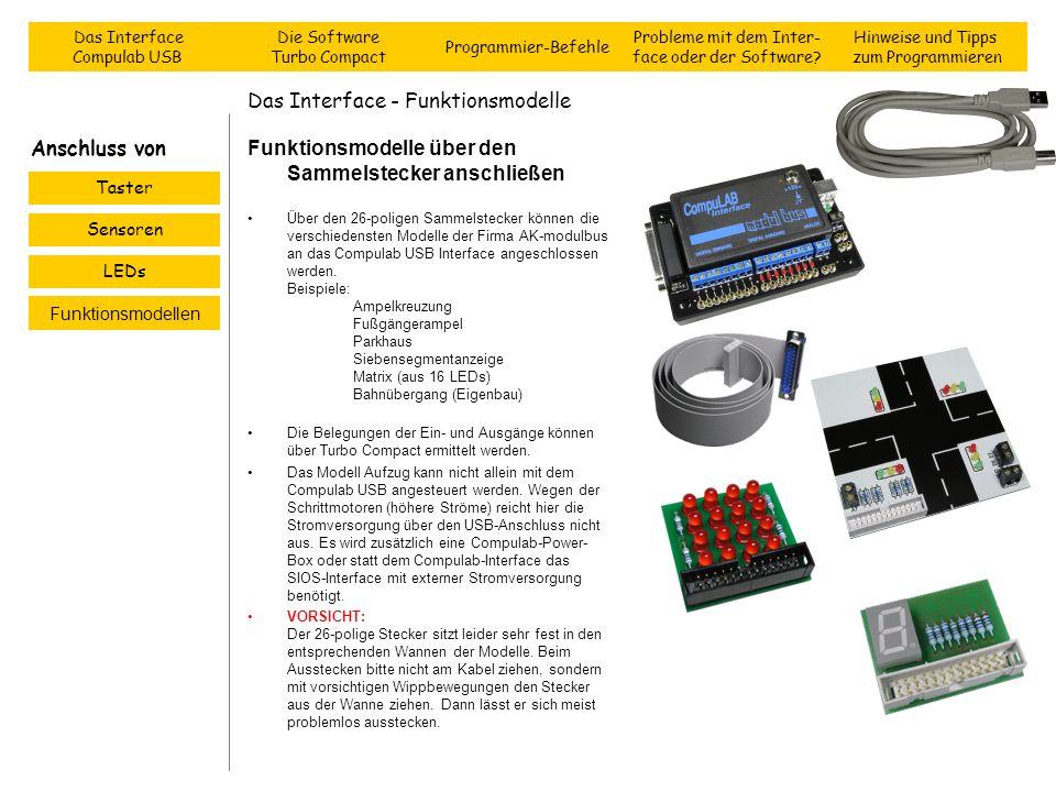 Das Interface - Funktionsmodelle Funktionsmodelle über den Sammelstecker anschließen Über den 26-poligen Sammelstecker können die verschiedensten Mode