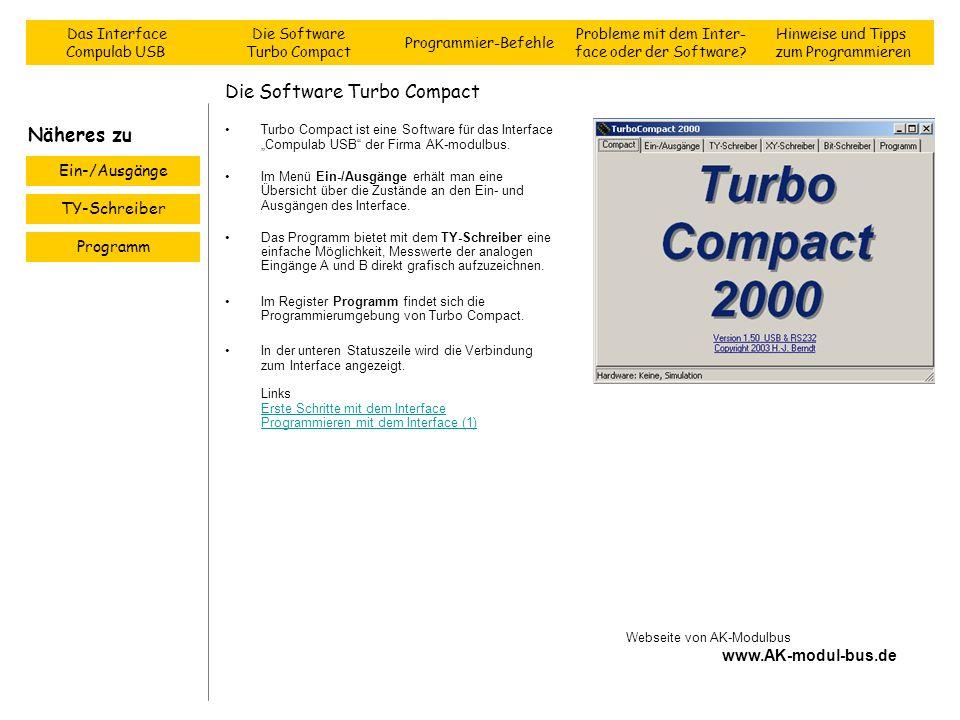 Die Software Turbo Compact Turbo Compact ist eine Software für das Interface Compulab USB der Firma AK-modulbus. Im Menü Ein-/Ausgänge erhält man eine