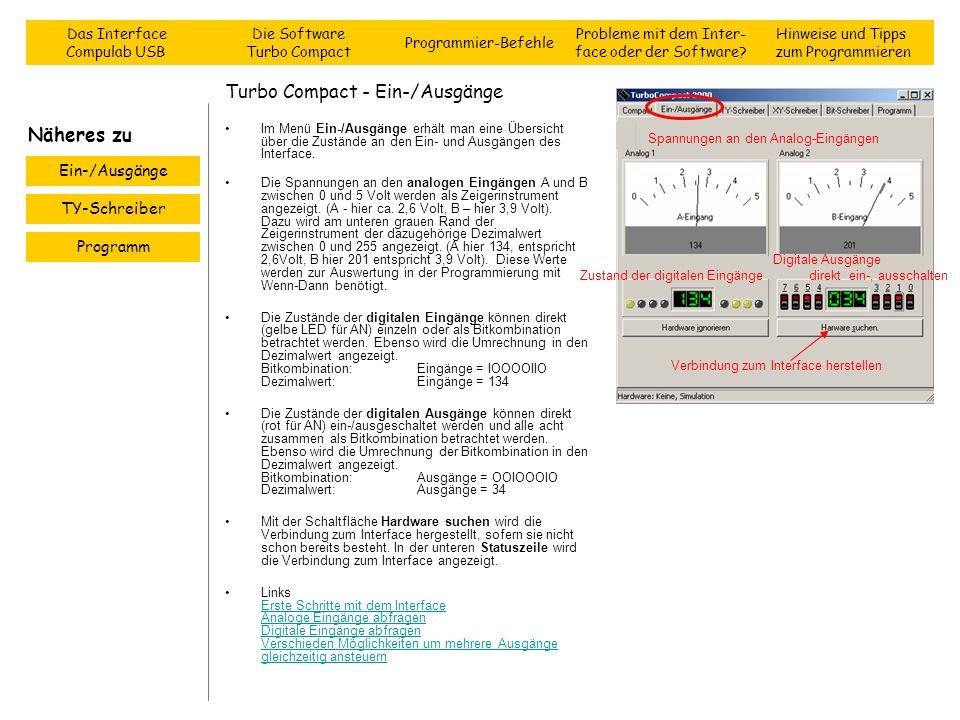Turbo Compact - Ein-/Ausgänge Im Menü Ein-/Ausgänge erhält man eine Übersicht über die Zustände an den Ein- und Ausgängen des Interface. Die Spannunge