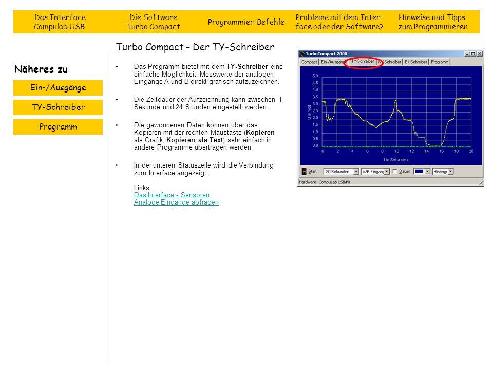 Turbo Compact – Der TY-Schreiber Das Programm bietet mit dem TY-Schreiber eine einfache Möglichkeit, Messwerte der analogen Eingänge A und B direkt gr