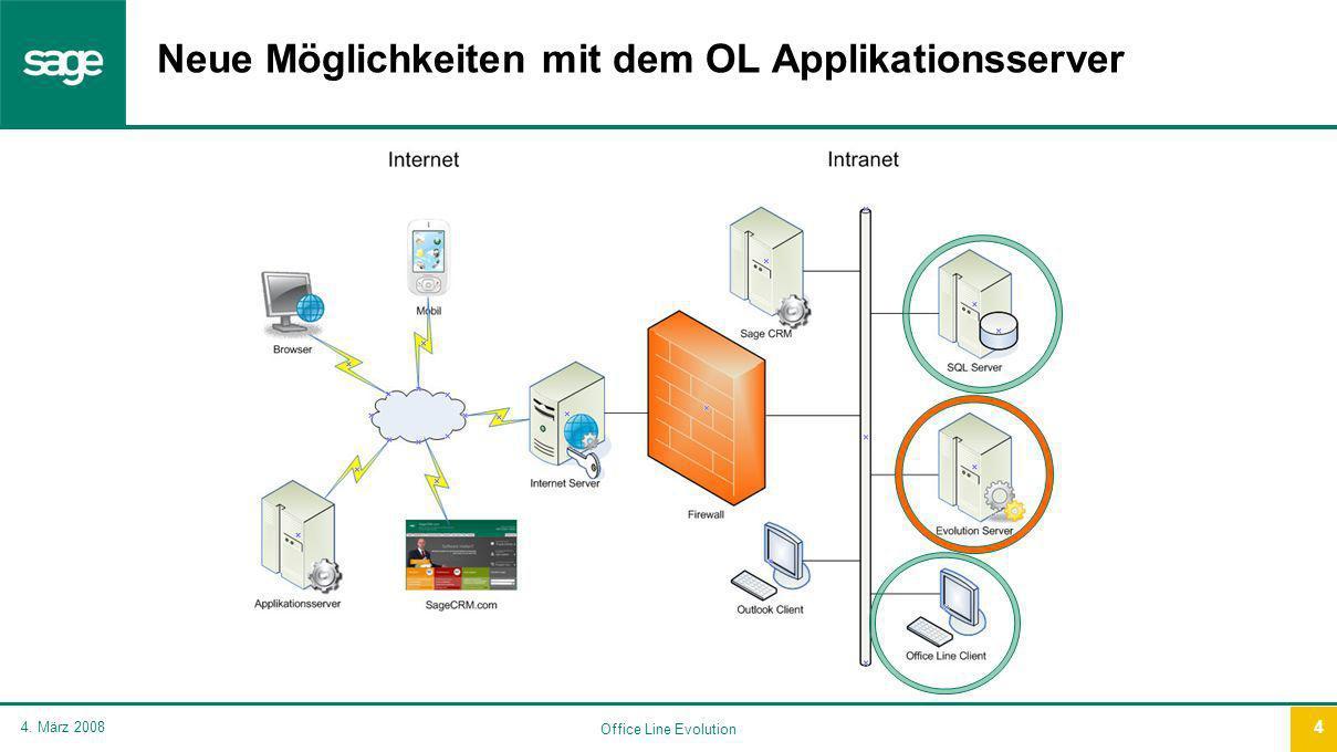 Office Line Evolution 4. März 2008 4 Neue Möglichkeiten mit dem OL Applikationsserver