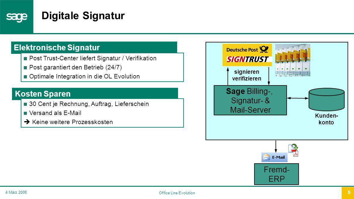 Office Line Evolution 4 März 2008 5 Digitale Signatur Elektronische Signatur Post Trust-Center liefert Signatur / Verifikation Post garantiert den Bet