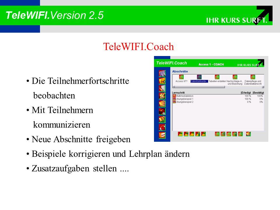 Version 2.5 TeleWIFI.Center Die Lernumgebung des Teilnehmers Das WIFI direkt am Schreibtisch des Kunden Lernschritte durchführen Mit Kurskollegen oder Trainern kommunizieren Die Lernunterlagen benutzen