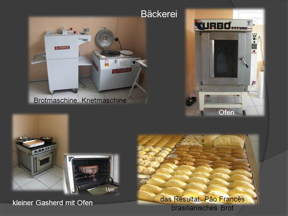 Brotmaschine, Knetmaschine Ofen kleiner Gasherd mit Ofen das Resultat: Pão Francês brasilianisches Brot Bäckerei Ups...