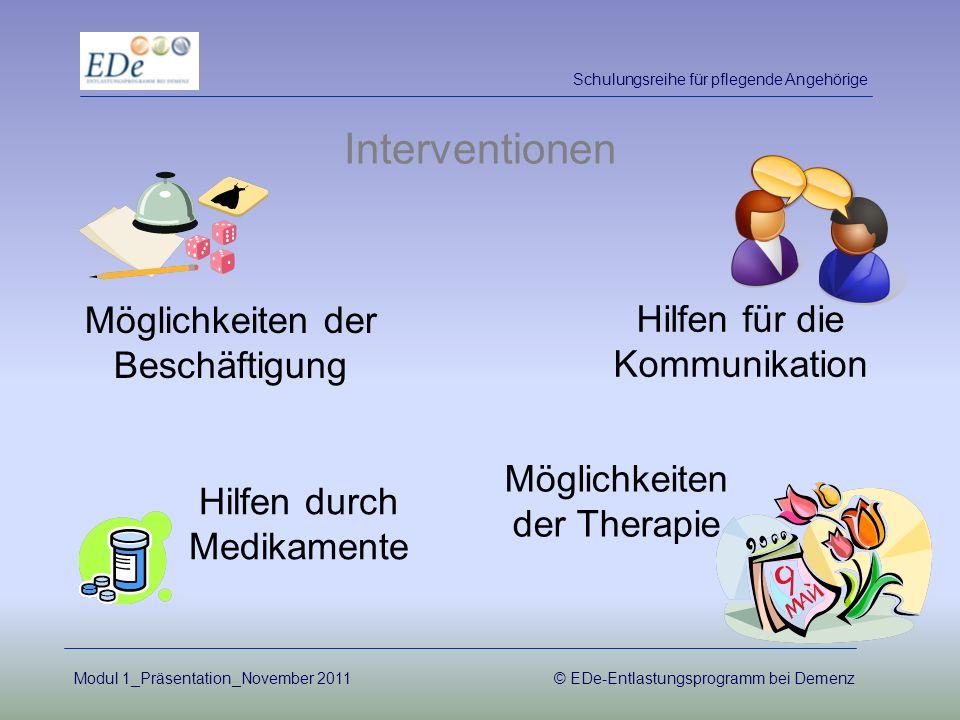 Interventionen Hilfen durch Medikamente Möglichkeiten der Therapie Möglichkeiten der Beschäftigung Hilfen für die Kommunikation Schulungsreihe für pfl