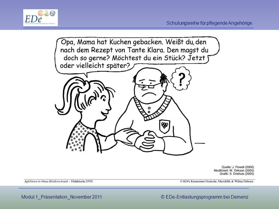 Schulungsreihe für pflegende Angehörige Modul 1_Präsentation_November 2011© EDe-Entlastungsprogramm bei Demenz