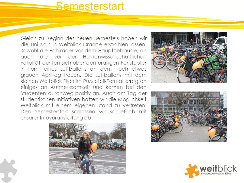 Gleich zu Beginn des neuen Semesters haben wir die Uni Köln in Weitblick-Orange erstrahlen lassen. Sowohl die Fahrräder vor dem Hauptgebäude, als auch