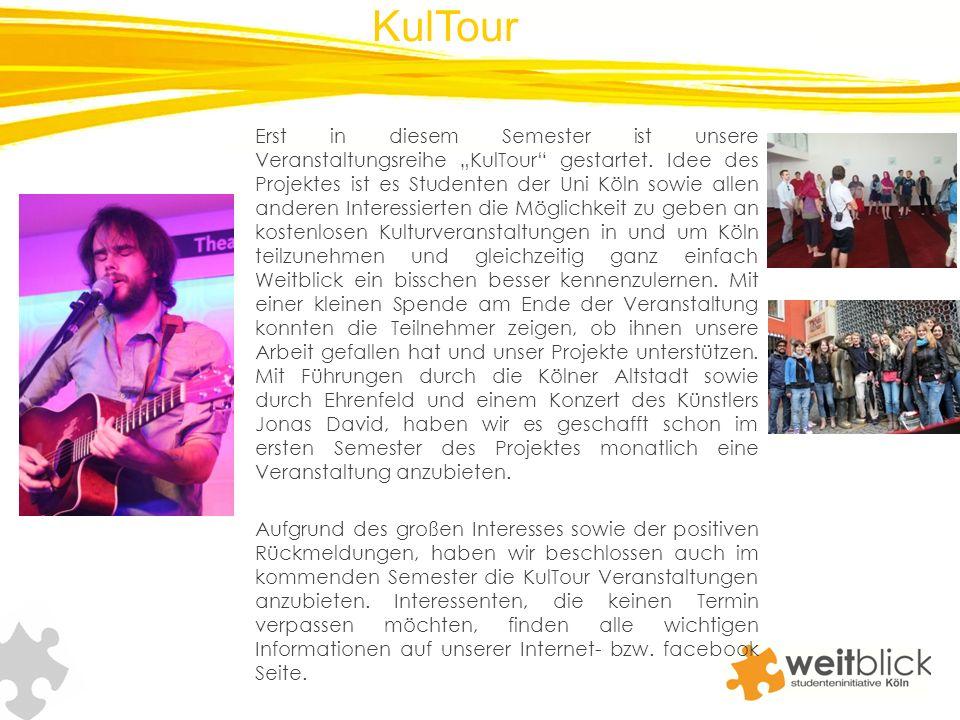 Erst in diesem Semester ist unsere Veranstaltungsreihe KulTour gestartet. Idee des Projektes ist es Studenten der Uni Köln sowie allen anderen Interes