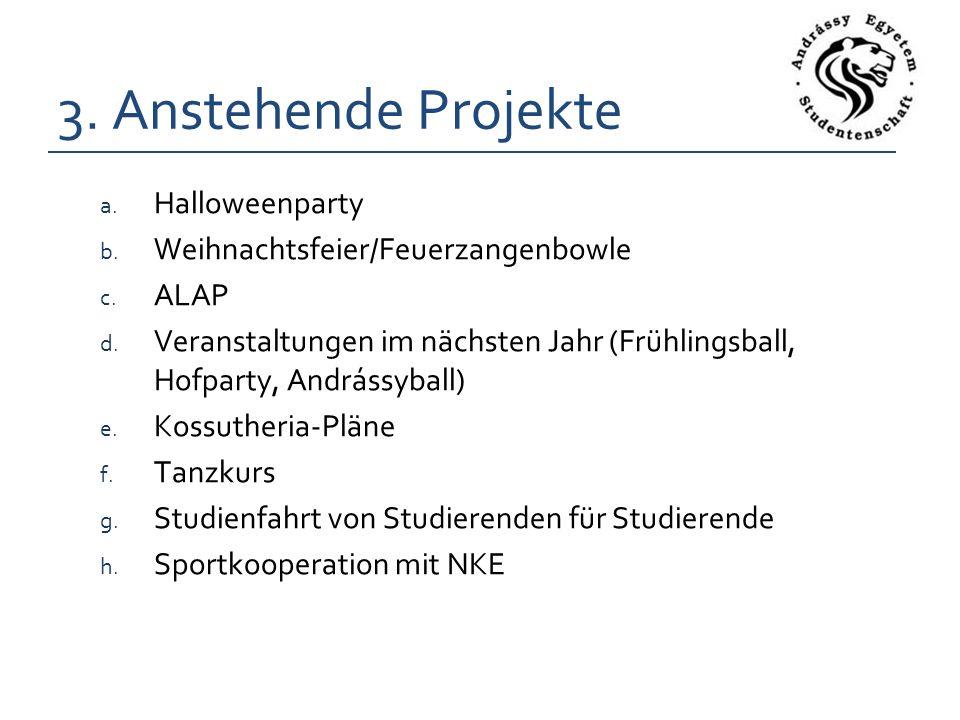 3. Anstehende Projekte a. Halloweenparty b. Weihnachtsfeier/Feuerzangenbowle c.