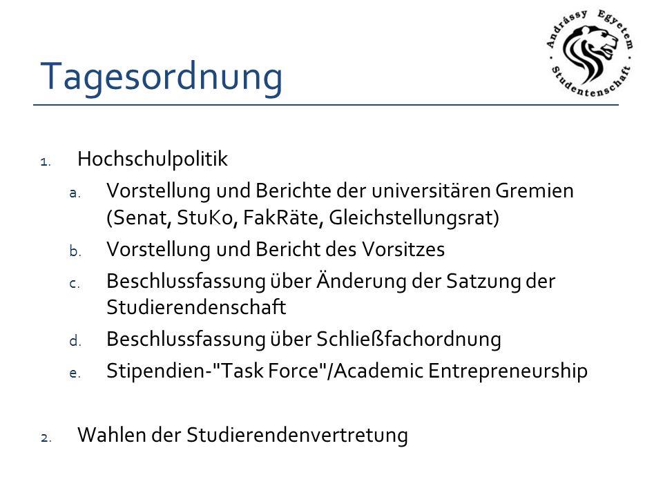 Tagesordnung 1. Hochschulpolitik a.