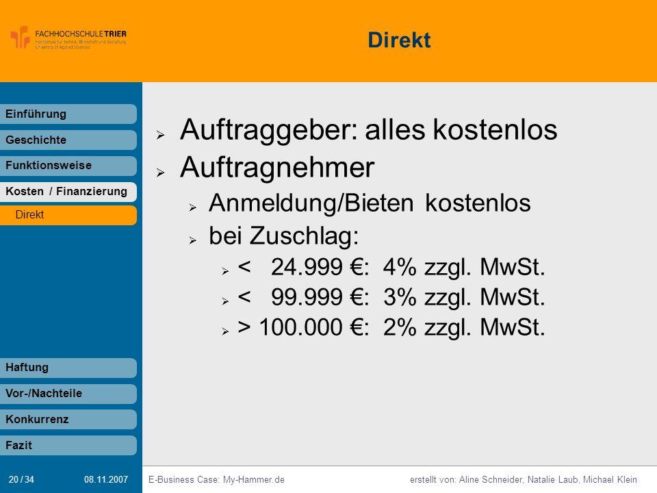 20 / 34 E-Business Case: My-Hammer.deerstellt von: Aline Schneider, Natalie Laub, Michael Klein 08.11.2007 Direkt Auftraggeber: alles kostenlos Auftra