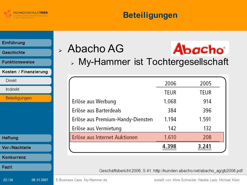 22 / 34 E-Business Case: My-Hammer.deerstellt von: Aline Schneider, Natalie Laub, Michael Klein 08.11.2007 Beteiligungen Einführung Geschichte Funktio