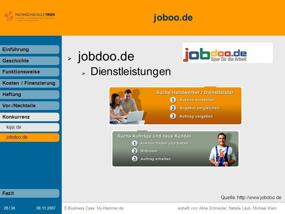 28 / 34 E-Business Case: My-Hammer.deerstellt von: Aline Schneider, Natalie Laub, Michael Klein 08.11.2007 joboo.de jobdoo.de Dienstleistungen Einführ