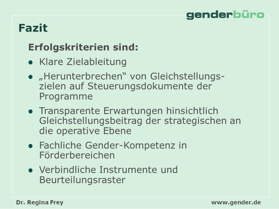 Dr. Regina Freywww.gender.de Fazit Erfolgskriterien sind: Klare Zielableitung Herunterbrechen von Gleichstellungs- zielen auf Steuerungsdokumente der